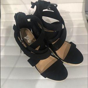 "Black 4"" Wedge Heel Sandals by Brash Size 8"